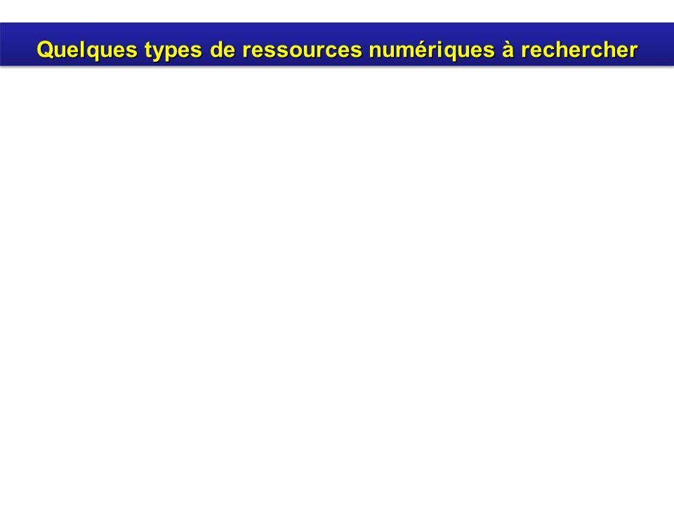 Quelques types de ressources numériques à rechercher