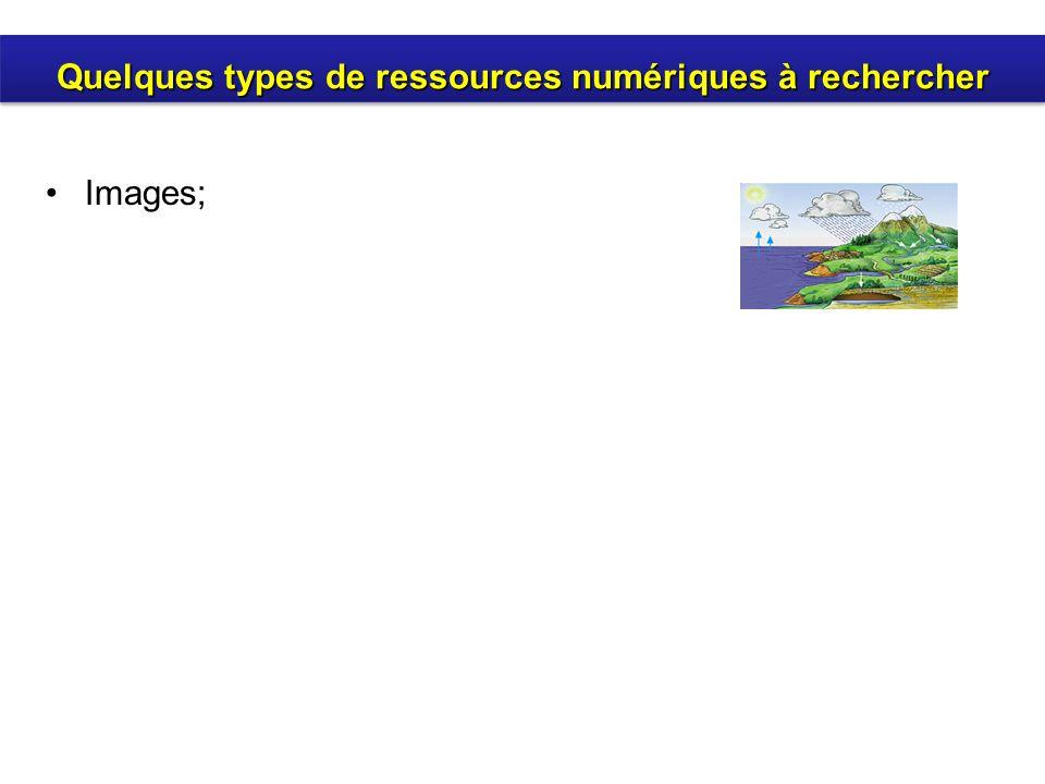 Images; Quelques types de ressources numériques à rechercher