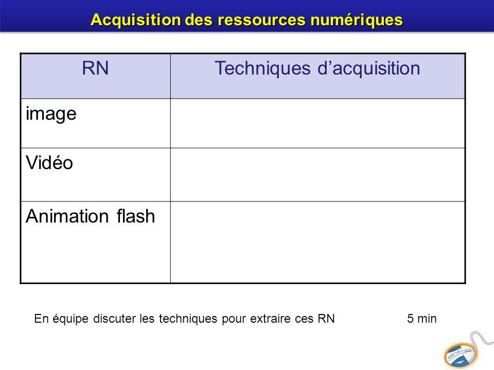 RNTechniques dacquisition image Vidéo Animation flash En équipe discuter les techniques pour extraire ces RN 5 min Acquisition des ressources numériqu