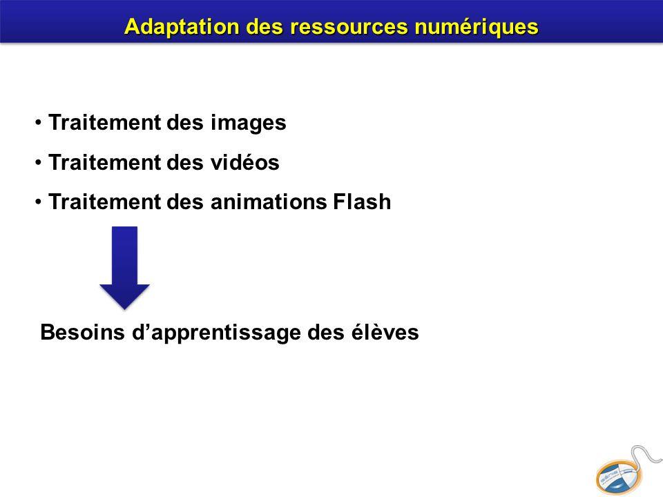 Adaptation des ressources numériques Traitement des images Traitement des vidéos Traitement des animations Flash Besoins dapprentissage des élèves