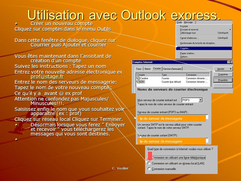 C. Vezilier Utilisation avec Outlook express. Créer un nouveau compte Cliquez sur comptes dans le menu Outils Dans cette fenêtre de dialogue, cliquez
