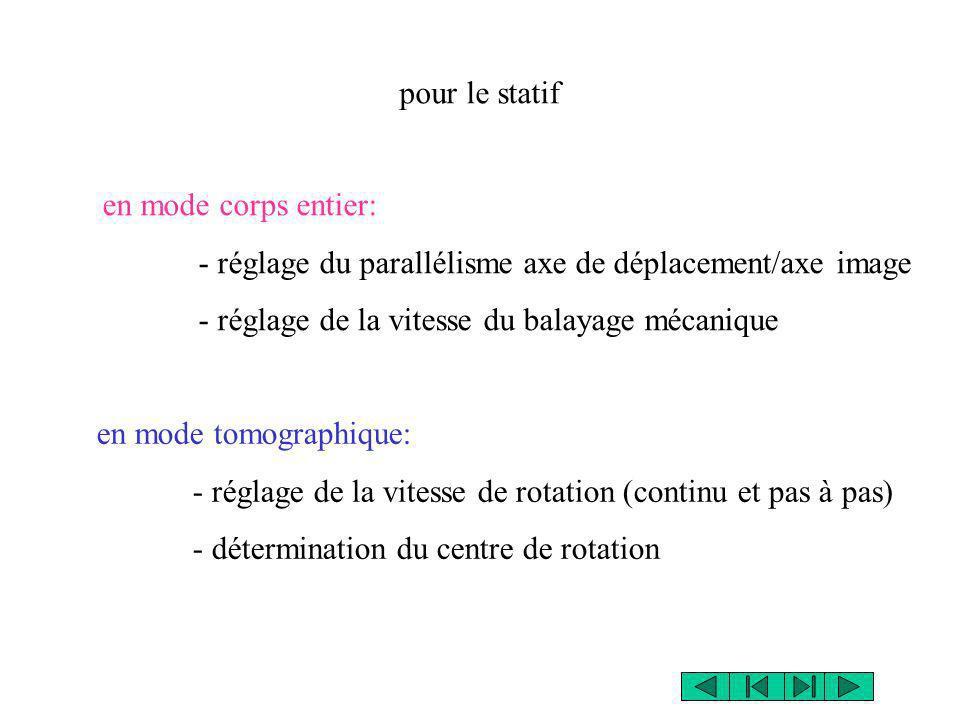 en mode corps entier: - réglage du parallélisme axe de déplacement/axe image - réglage de la vitesse du balayage mécanique pour le statif en mode tomo