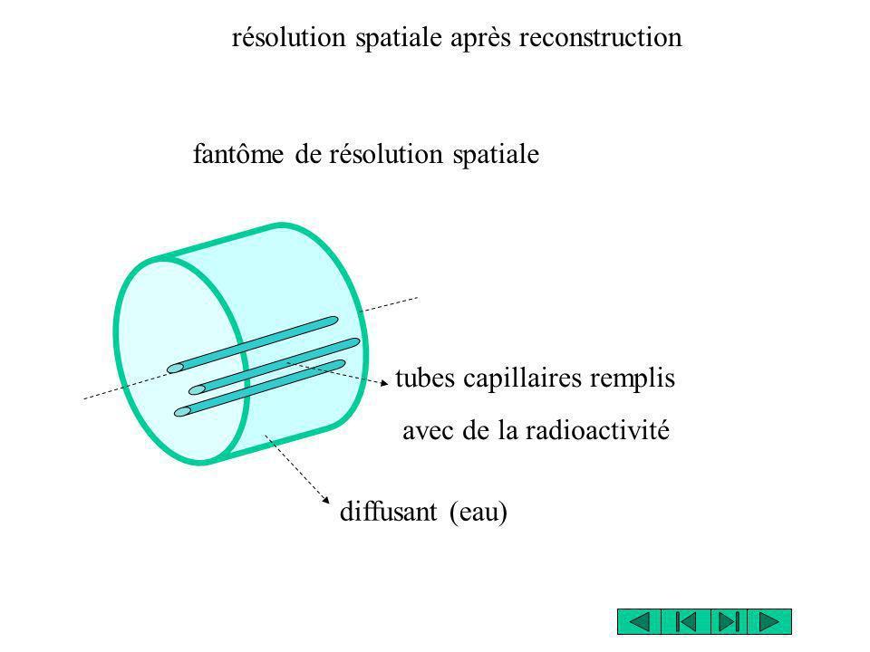 fantôme de résolution spatiale tubes capillaires remplis avec de la radioactivité diffusant (eau) résolution spatiale après reconstruction