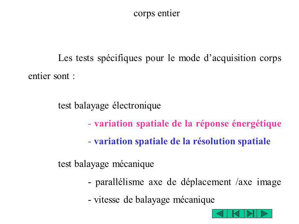 Les tests spécifiques pour le mode dacquisition corps entier sont : corps entier test balayage mécanique - parallélisme axe de déplacement /axe image