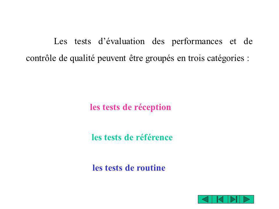 Les tests dévaluation des performances et de contrôle de qualité peuvent être groupés en trois catégories : les tests de routine les tests de référenc