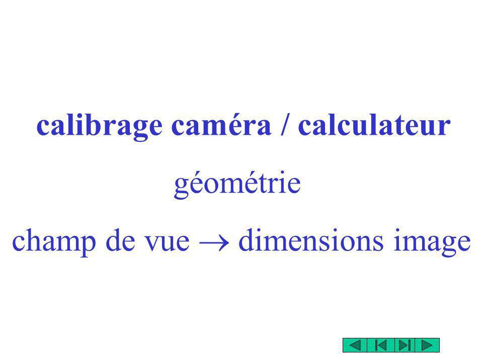 calibrage caméra / calculateur géométrie champ de vue dimensions image