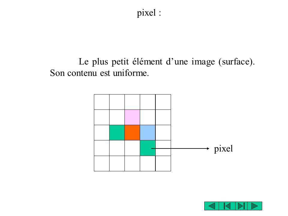 Le plus petit élément dune image (surface). Son contenu est uniforme. pixel pixel :