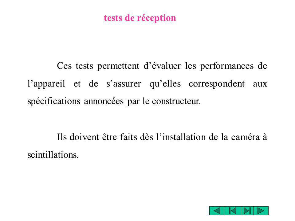 tests de réception Ces tests permettent dévaluer les performances de lappareil et de sassurer quelles correspondent aux spécifications annoncées par l