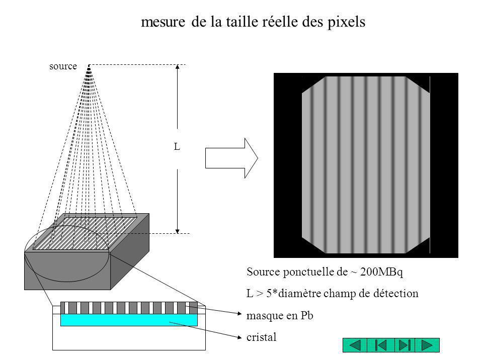 source L Source ponctuelle de ~ 200MBq L > 5*diamètre champ de détection masque en Pb cristal mesure de la taille réelle des pixels