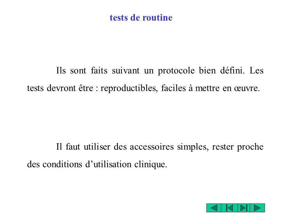 tests de routine Ils sont faits suivant un protocole bien défini. Les tests devront être : reproductibles, faciles à mettre en œuvre. Il faut utiliser