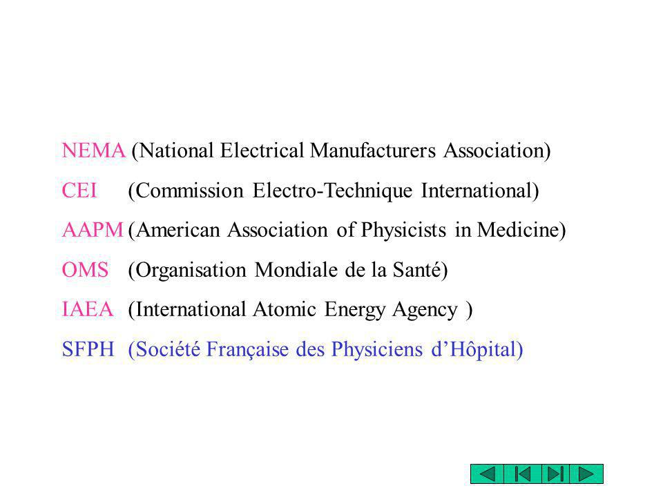 NEMA (National Electrical Manufacturers Association) CEI(Commission Electro-Technique International) AAPM(American Association of Physicists in Medici