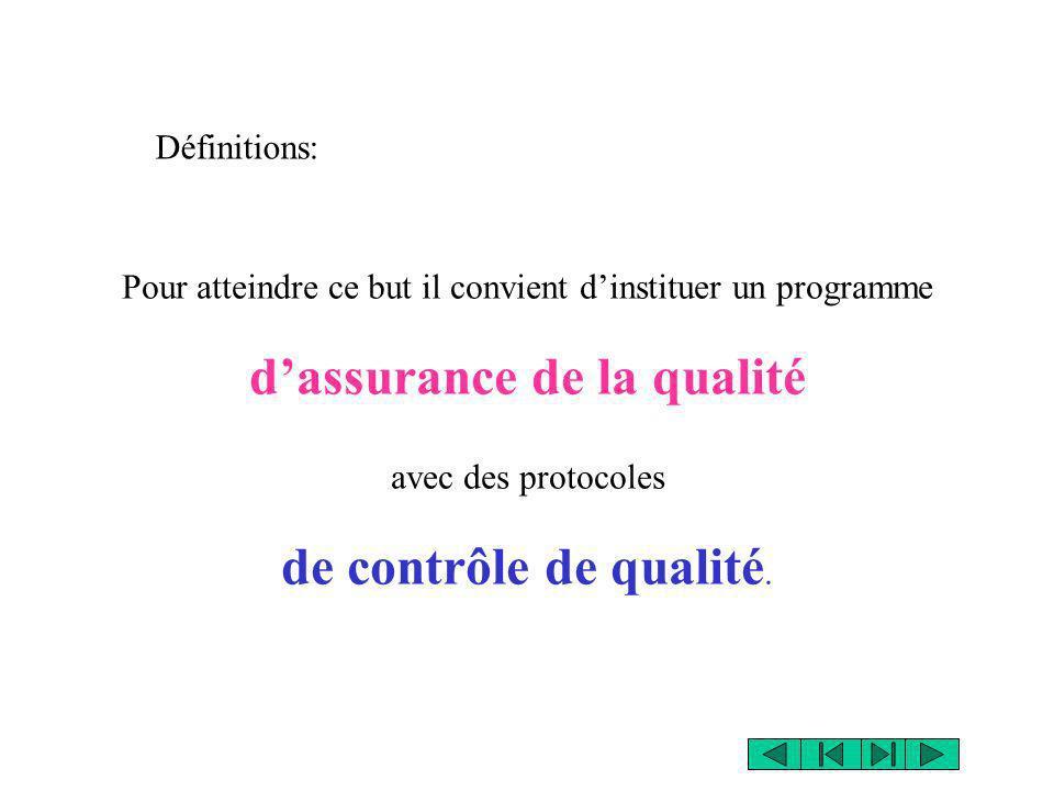 Pour atteindre ce but il convient dinstituer un programme dassurance de la qualité avec des protocoles de contrôle de qualité. Définitions: