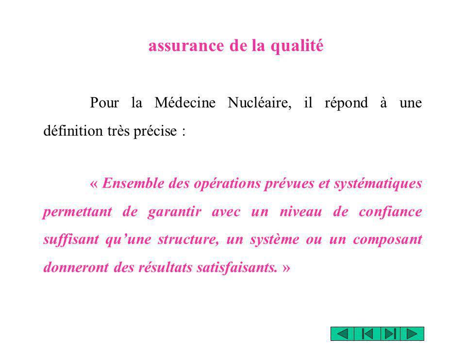 Pour la Médecine Nucléaire, il répond à une définition très précise : assurance de la qualité « Ensemble des opérations prévues et systématiques perme