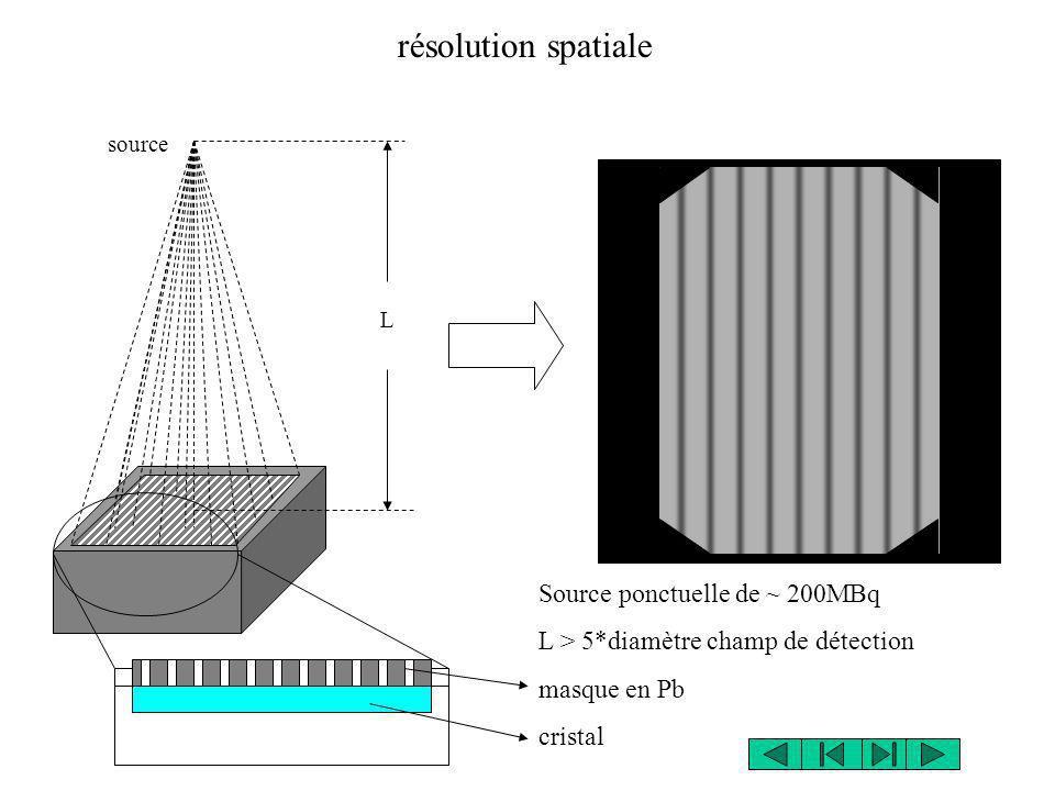 source L Source ponctuelle de ~ 200MBq L > 5*diamètre champ de détection masque en Pb cristal résolution spatiale