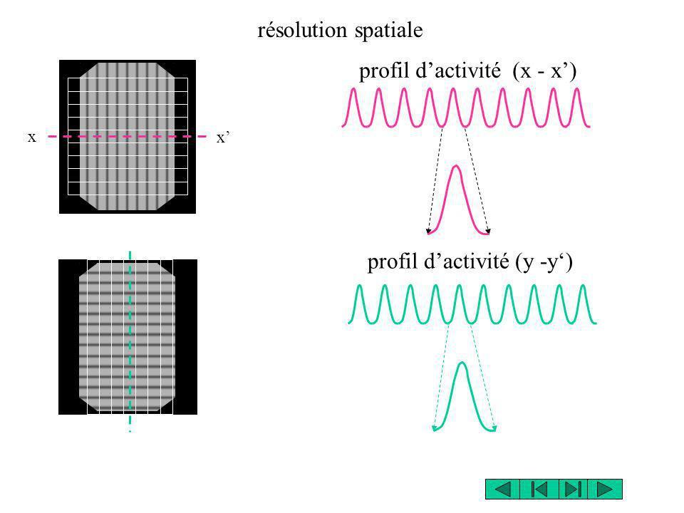 x x profil dactivité (x - x) résolution spatiale profil dactivité (y -y)