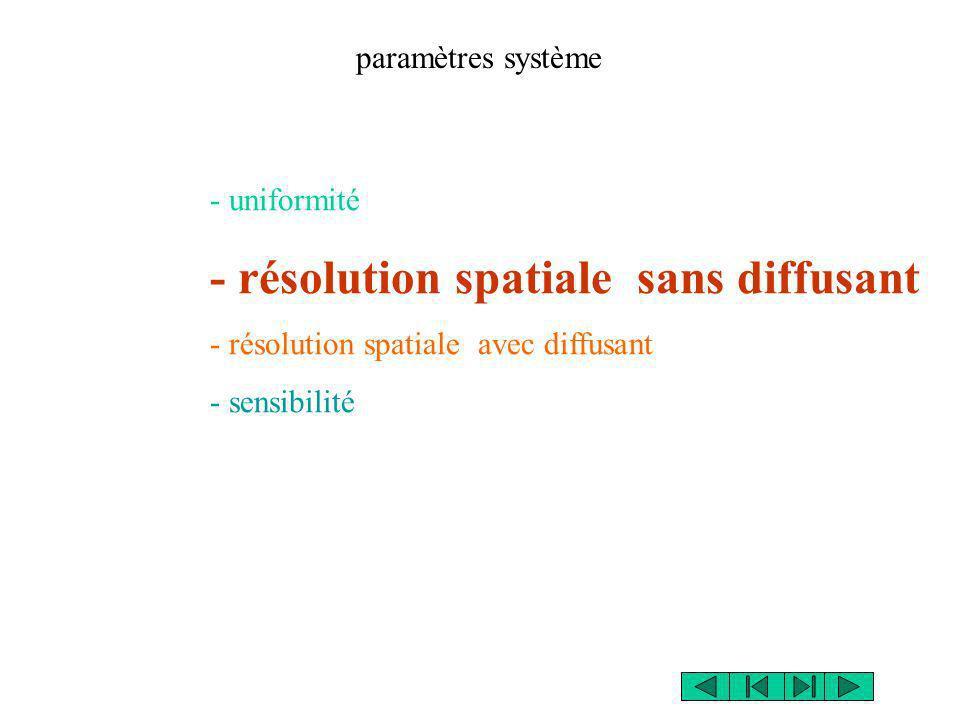paramètres système - uniformité - résolution spatiale sans diffusant - résolution spatiale avec diffusant - sensibilité