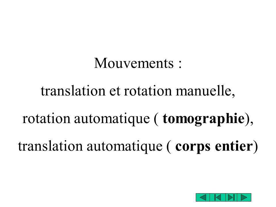 Mouvements : translation et rotation manuelle, rotation automatique ( tomographie), translation automatique ( corps entier)