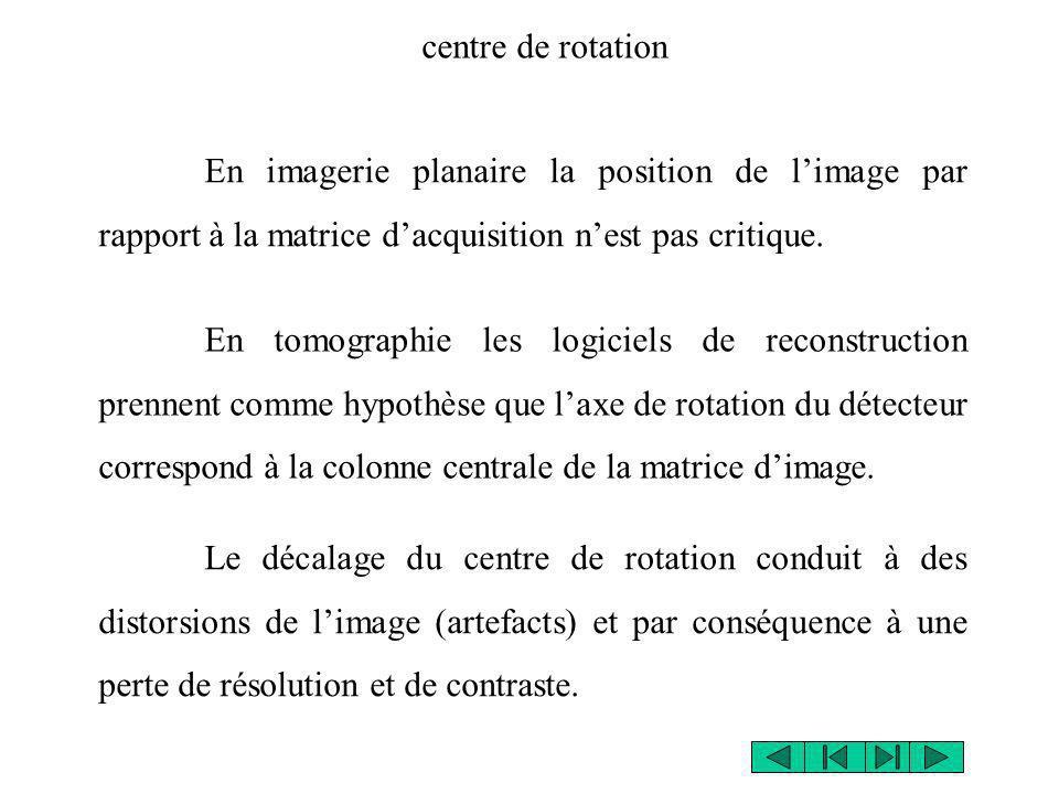 En imagerie planaire la position de limage par rapport à la matrice dacquisition nest pas critique. En tomographie les logiciels de reconstruction pre