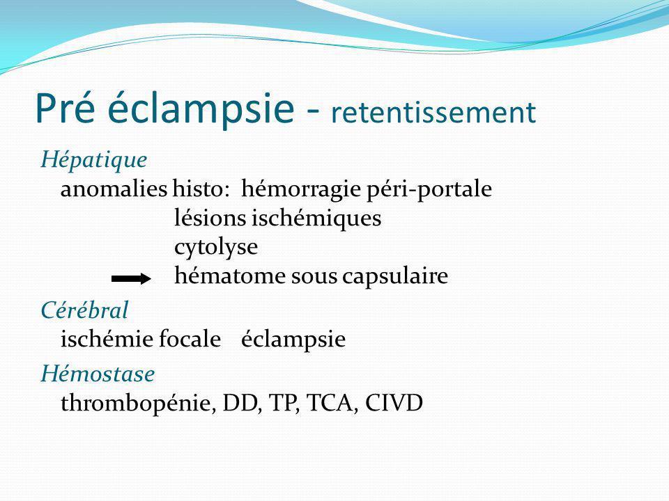 Pré éclampsie - retentissement Hépatique anomalies histo: hémorragie péri-portale lésions ischémiques cytolyse hématome sous capsulaire Cérébral isché