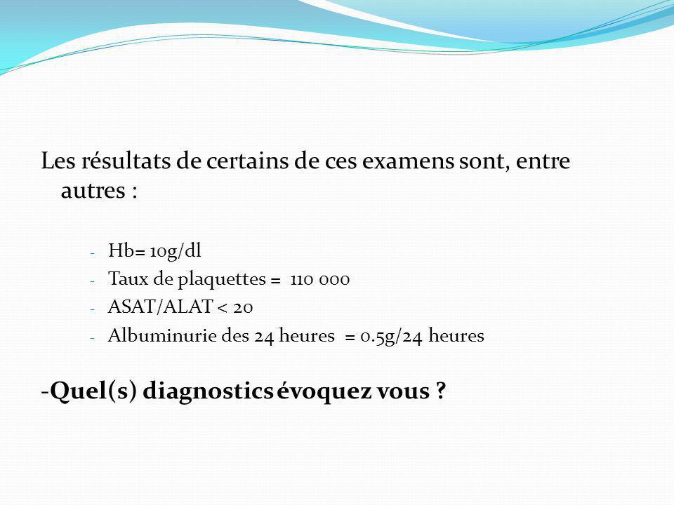 Les résultats de certains de ces examens sont, entre autres : - Hb= 10g/dl - Taux de plaquettes = 110 000 - ASAT/ALAT < 20 - Albuminurie des 24 heures