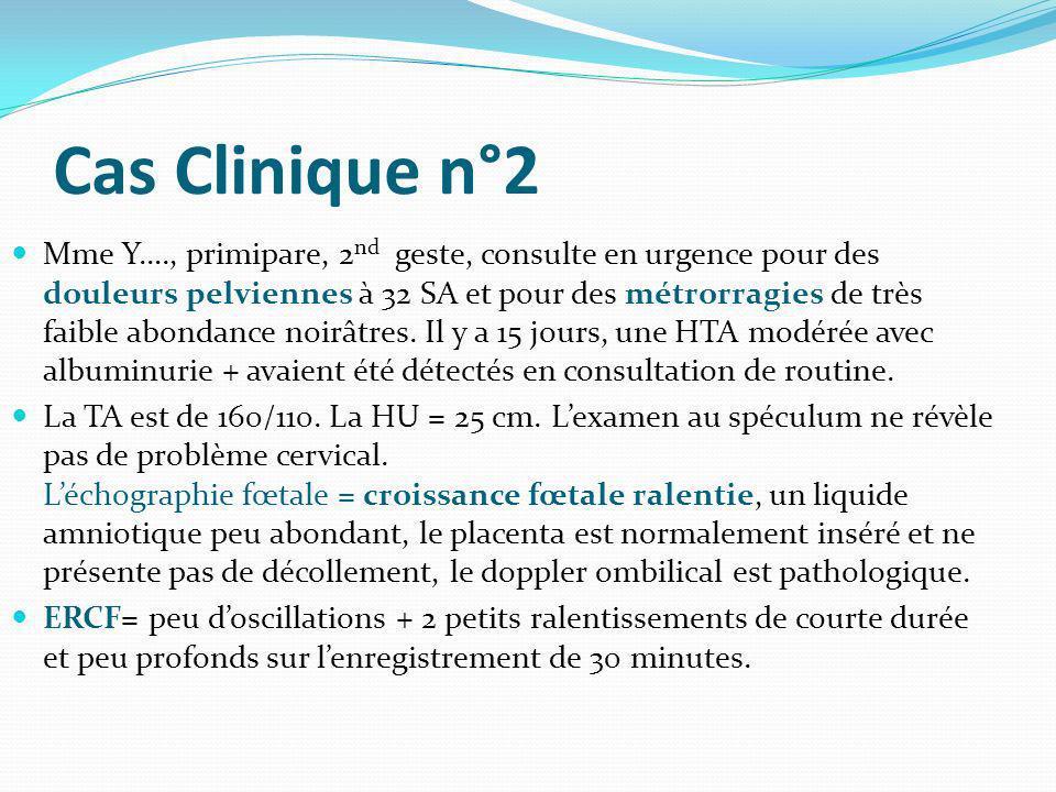 Cas Clinique n°2 Mme Y…., primipare, 2 nd geste, consulte en urgence pour des douleurs pelviennes à 32 SA et pour des métrorragies de très faible abon