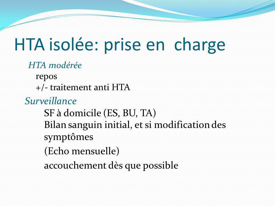 HTA isolée: prise en charge HTA modérée repos +/- traitement anti HTA Surveillance SF à domicile (ES, BU, TA) Bilan sanguin initial, et si modificatio