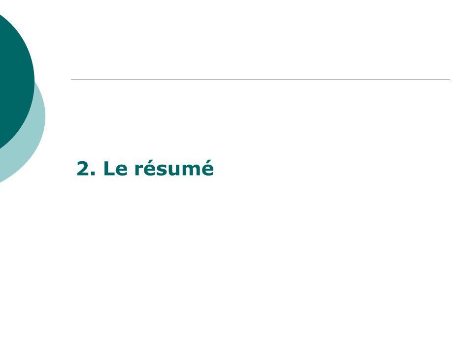 2. Le résumé