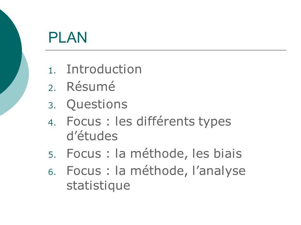 PLAN 1. Introduction 2. Résumé 3. Questions 4. Focus : les différents types détudes 5. Focus : la méthode, les biais 6. Focus : la méthode, lanalyse s