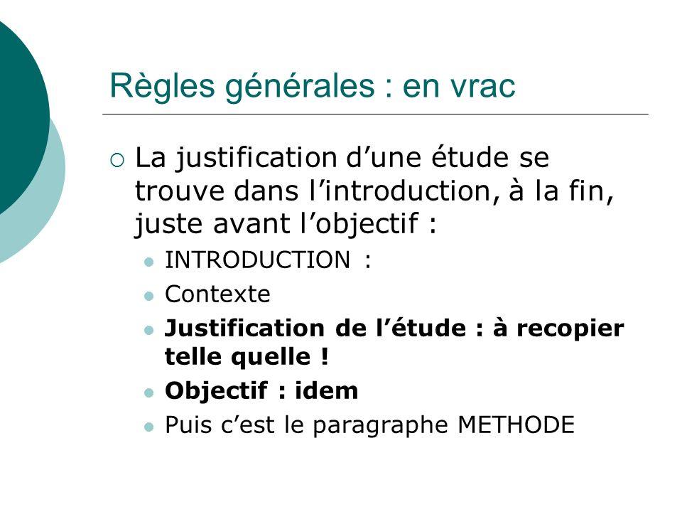 Règles générales : en vrac La justification dune étude se trouve dans lintroduction, à la fin, juste avant lobjectif : INTRODUCTION : Contexte Justifi