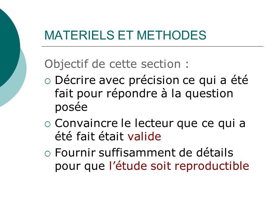 MATERIELS ET METHODES Objectif de cette section : Décrire avec précision ce qui a été fait pour répondre à la question posée Convaincre le lecteur que