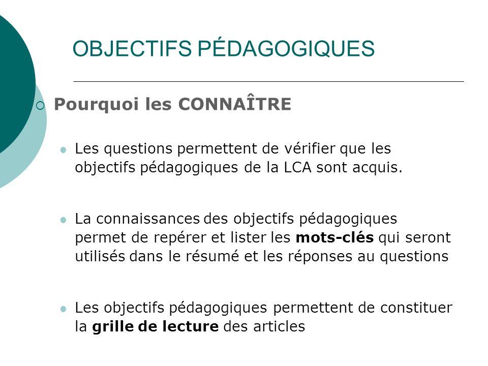 OBJECTIFS PÉDAGOGIQUES Pourquoi les CONNAÎTRE Les questions permettent de vérifier que les objectifs pédagogiques de la LCA sont acquis. La connaissan