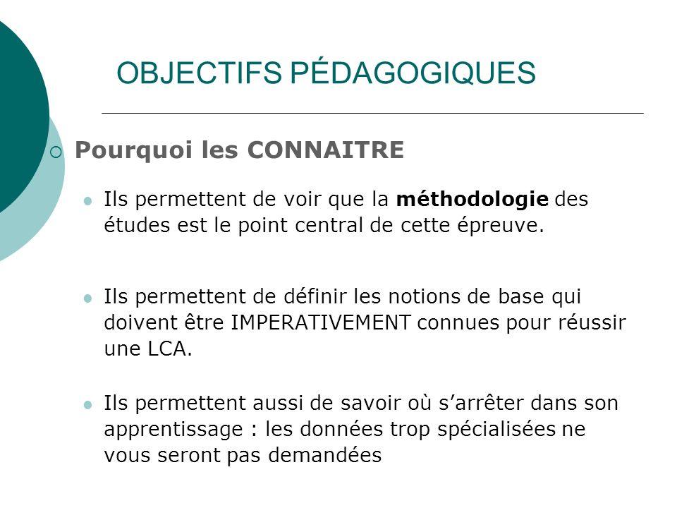 OBJECTIFS PÉDAGOGIQUES Pourquoi les CONNAITRE Ils permettent de voir que la méthodologie des études est le point central de cette épreuve. Ils permett