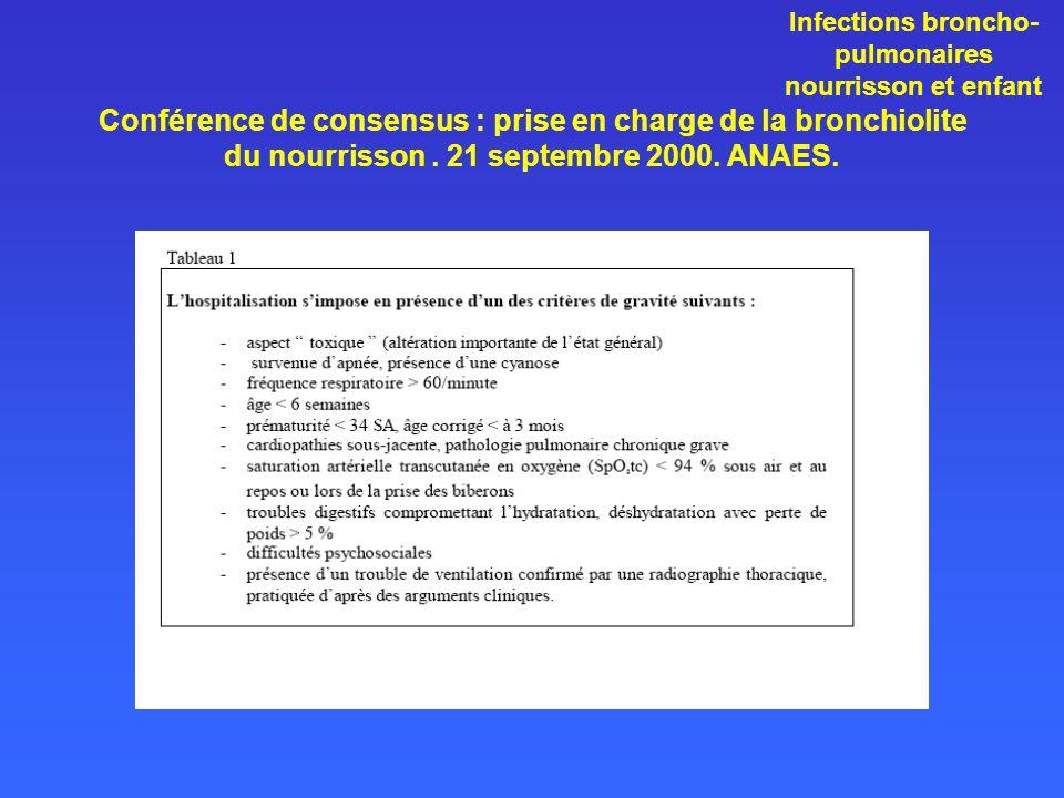 Conférence de consensus : prise en charge de la bronchiolite du nourrisson. 21 septembre 2000. ANAES. Infections broncho- pulmonaires nourrisson et en