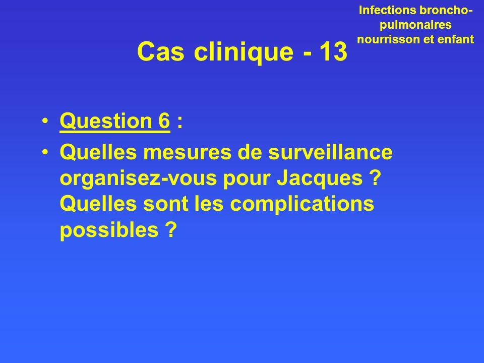 Cas clinique - 13 Question 6 : Quelles mesures de surveillance organisez-vous pour Jacques ? Quelles sont les complications possibles ? Infections bro