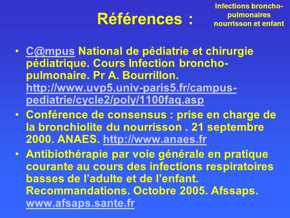 Références : C@mpus National de pédiatrie et chirurgie pédiatrique. Cours Infection broncho- pulmonaire. Pr A. Bourrillon. http://www.uvp5.univ-paris5