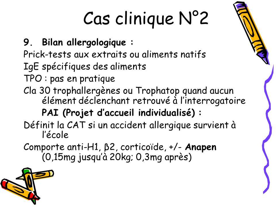 Cas clinique N°2 9.Bilan allergologique : Prick-tests aux extraits ou aliments natifs IgE spécifiques des aliments TPO : pas en pratique Cla 30 tropha