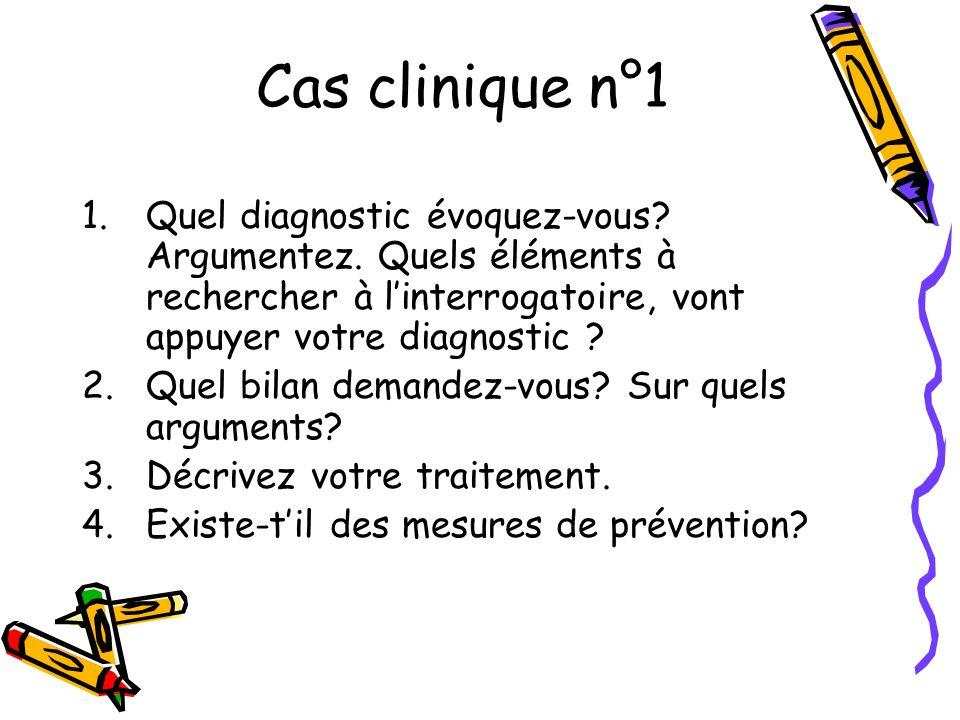 Cas clinique n°1 1.Quel diagnostic évoquez-vous? Argumentez. Quels éléments à rechercher à linterrogatoire, vont appuyer votre diagnostic ? 2.Quel bil
