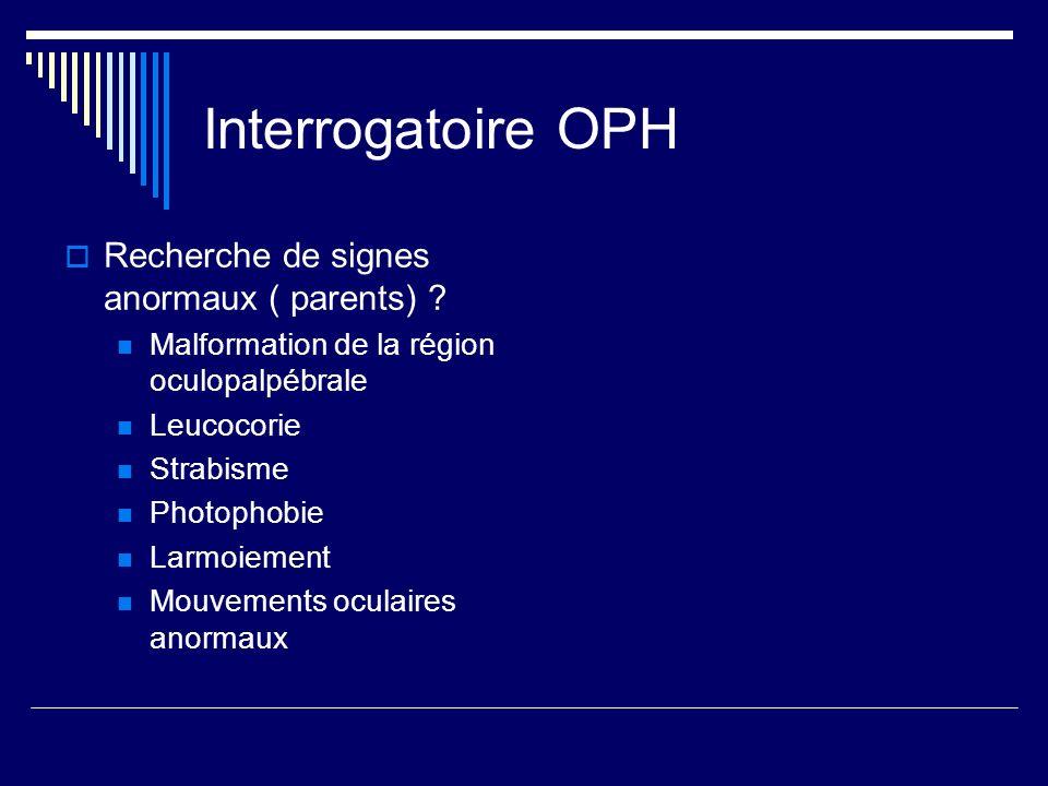 Interrogatoire OPH Recherche de signes anormaux ( parents) ? Malformation de la région oculopalpébrale Leucocorie Strabisme Photophobie Larmoiement Mo