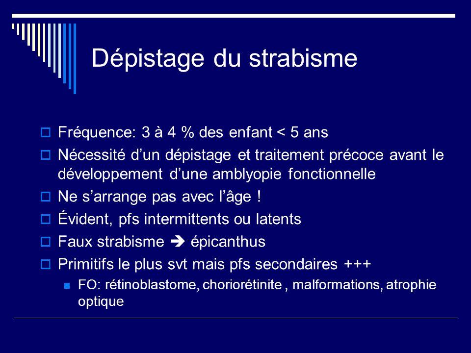 Dépistage du strabisme Fréquence: 3 à 4 % des enfant < 5 ans Nécessité dun dépistage et traitement précoce avant le développement dune amblyopie fonct
