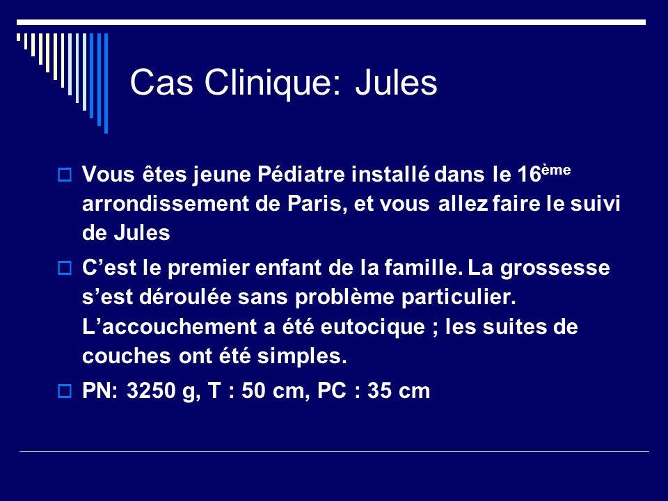 Cas Clinique: Jules Vous êtes jeune Pédiatre installé dans le 16 ème arrondissement de Paris, et vous allez faire le suivi de Jules Cest le premier en