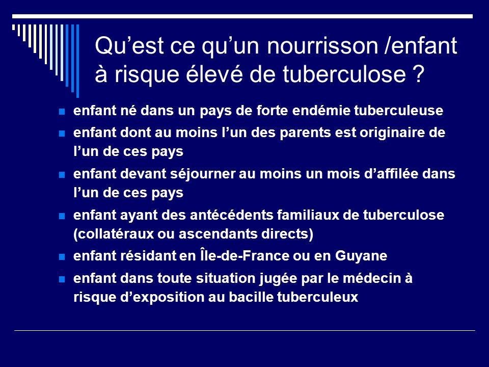 Quest ce quun nourrisson /enfant à risque élevé de tuberculose ? enfant né dans un pays de forte endémie tuberculeuse enfant dont au moins lun des par
