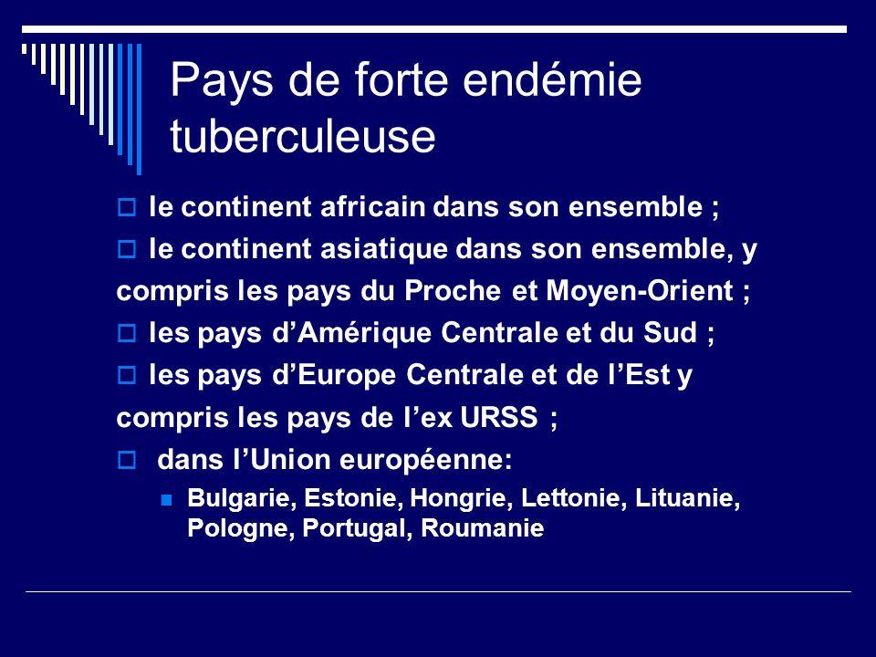 Pays de forte endémie tuberculeuse le continent africain dans son ensemble ; le continent asiatique dans son ensemble, y compris les pays du Proche et