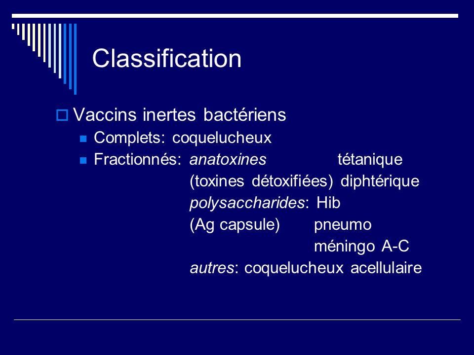 Classification Vaccins inertes bactériens Complets: coquelucheux Fractionnés: anatoxines tétanique (toxines détoxifiées) diphtérique polysaccharides: