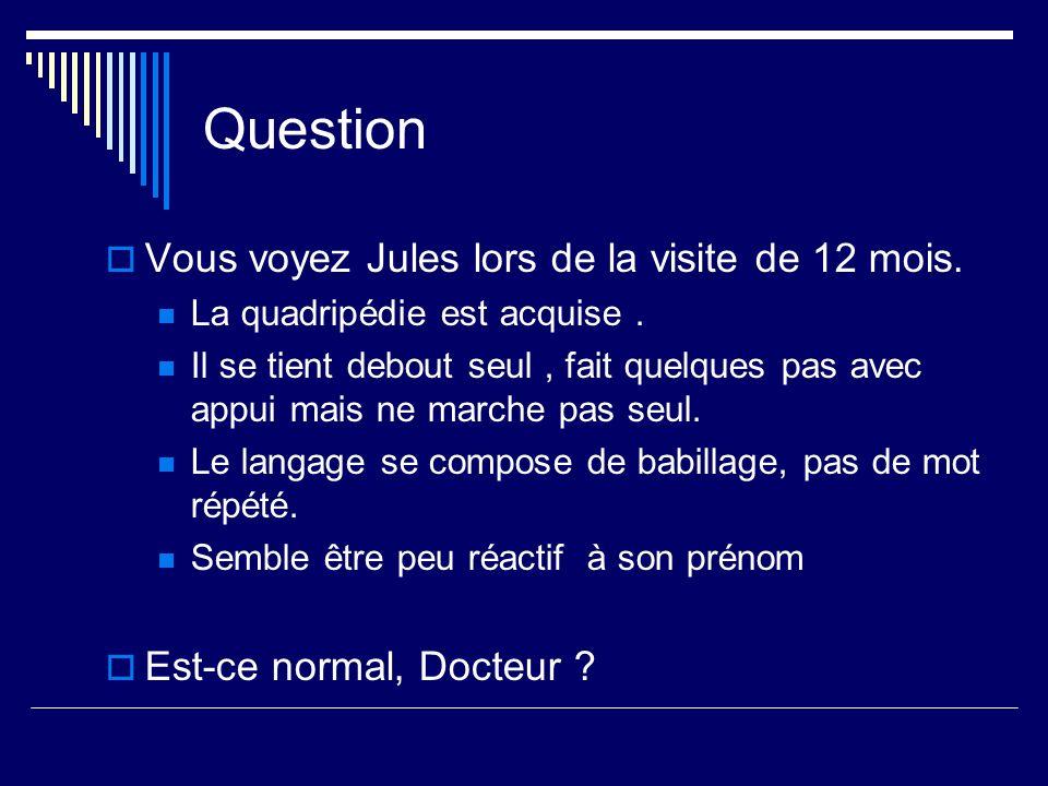 Question Vous voyez Jules lors de la visite de 12 mois. La quadripédie est acquise. Il se tient debout seul, fait quelques pas avec appui mais ne marc