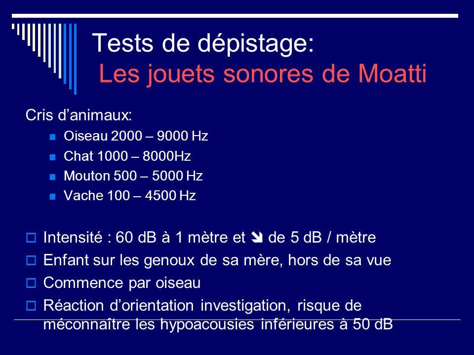 Tests de dépistage: Les jouets sonores de Moatti Cris danimaux: Oiseau 2000 – 9000 Hz Chat 1000 – 8000Hz Mouton 500 – 5000 Hz Vache 100 – 4500 Hz Inte