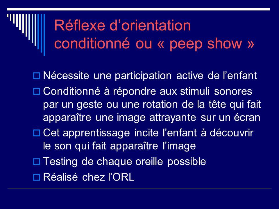 Réflexe dorientation conditionné ou « peep show » Nécessite une participation active de lenfant Conditionné à répondre aux stimuli sonores par un gest