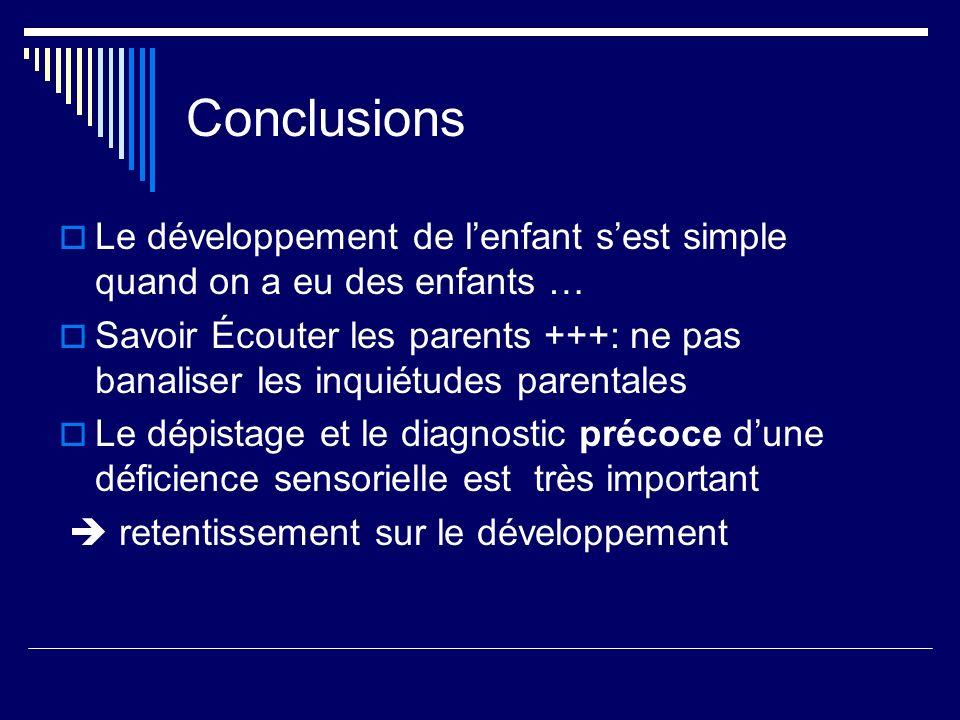 Conclusions Le développement de lenfant sest simple quand on a eu des enfants … Savoir Écouter les parents +++: ne pas banaliser les inquiétudes paren