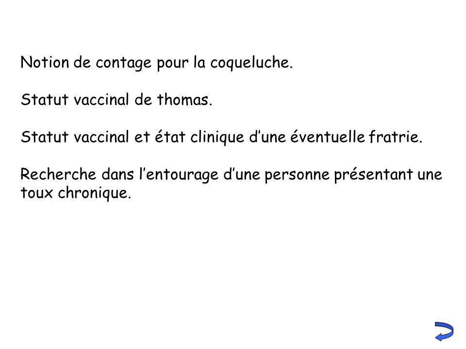 Notion de contage pour la coqueluche. Statut vaccinal de thomas. Statut vaccinal et état clinique dune éventuelle fratrie. Recherche dans lentourage d