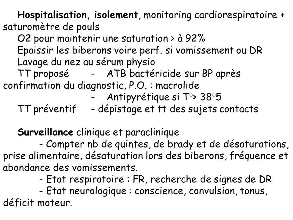 Hospitalisation, isolement, monitoring cardiorespiratoire + saturomètre de pouls O2 pour maintenir une saturation > à 92% Epaissir les biberons voire