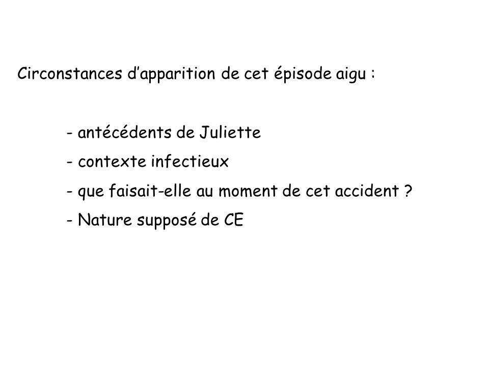 Circonstances dapparition de cet épisode aigu : - antécédents de Juliette - contexte infectieux - que faisait-elle au moment de cet accident ? - Natur